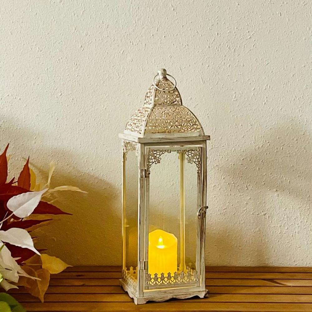 فانوس حديد ابيض انتيك فوانيس ديكورات رمضان فانوس شمعة زينه رمضانية