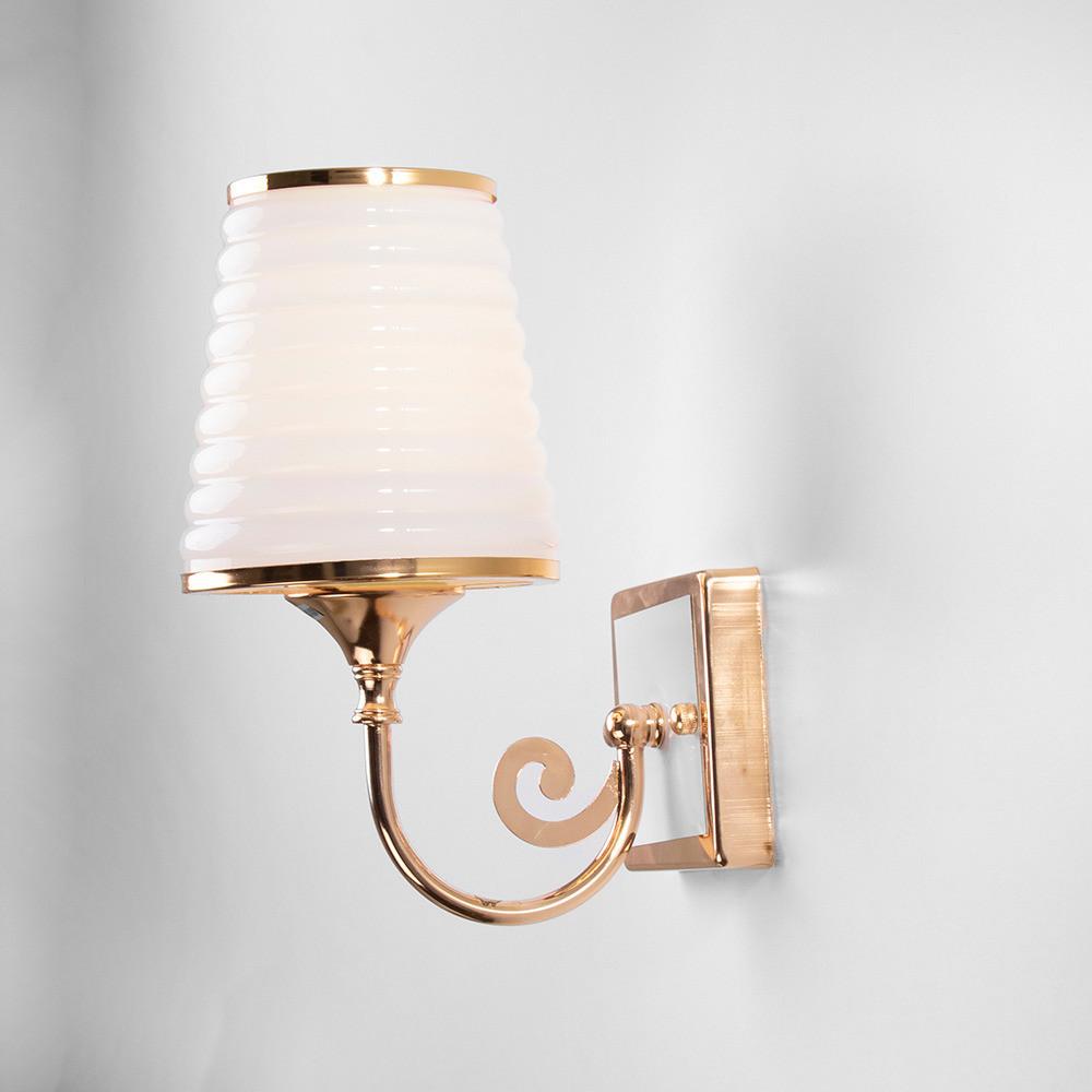 اضاءة كلاسيك مفرد ذهبية بزجاج مثلج مموج - فانوس
