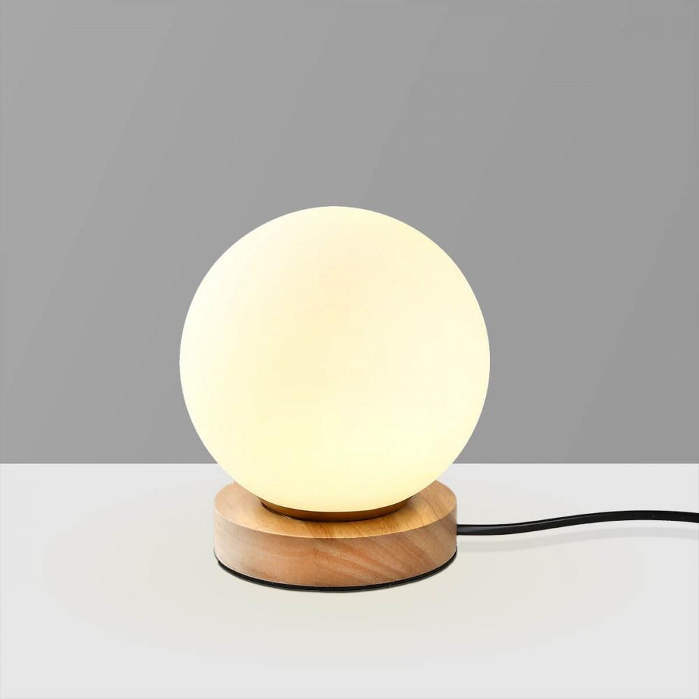 اضاءة طاولة كروية مع قاعدة خشبية - فانوس