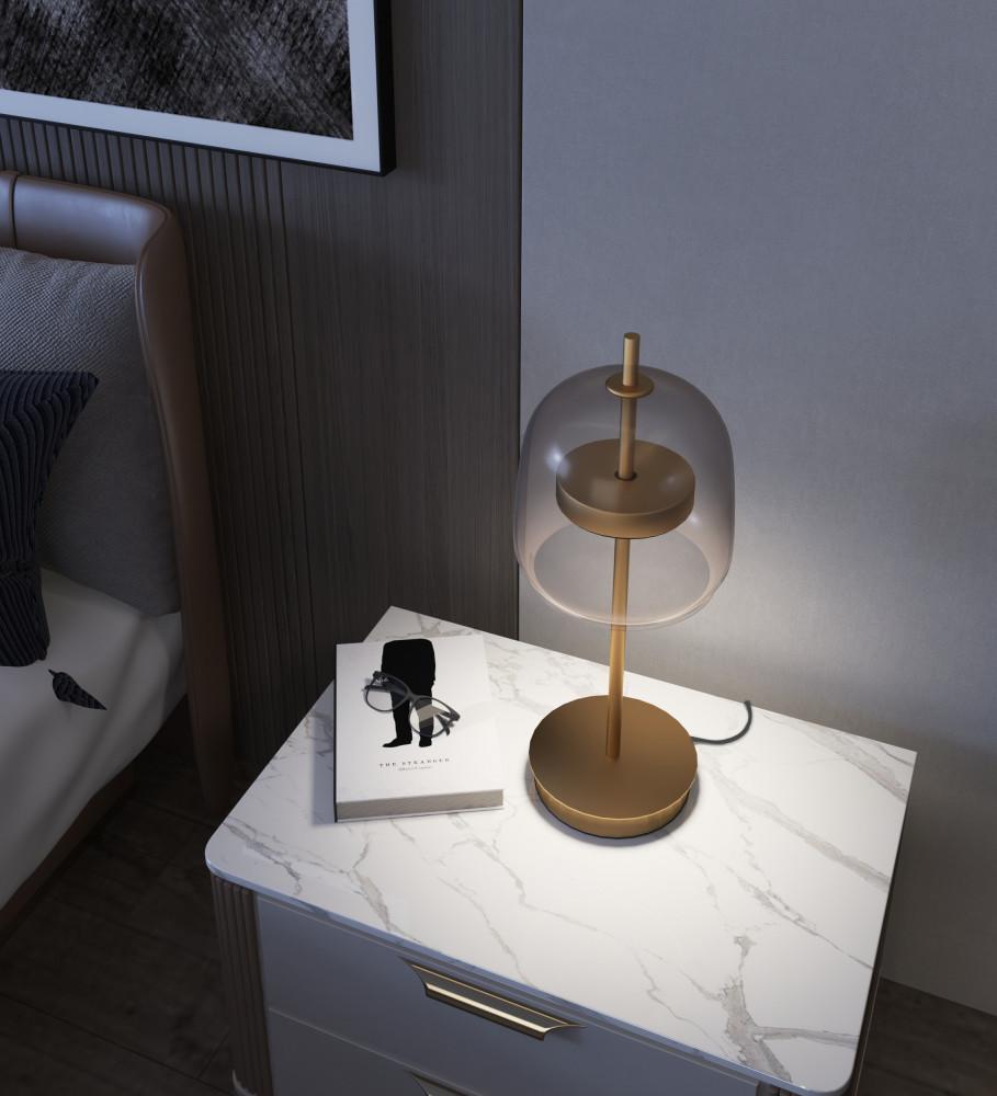 ابجورة سرير قبة زجاجية رمادي -  عسلي وذراع ذهبي - فانوس
