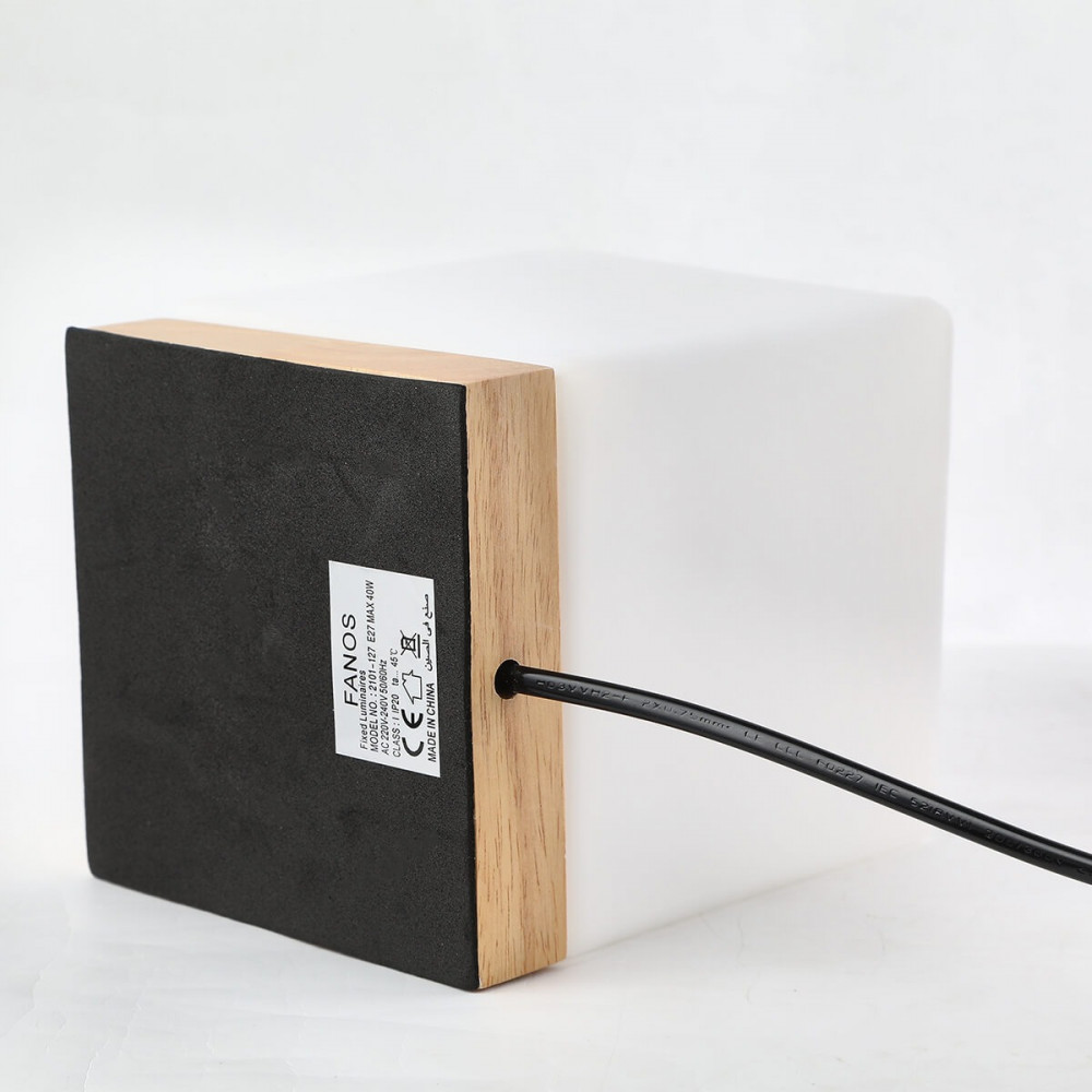 ابجورة طاولة مربعة بقاعدة خشبية - فانوس