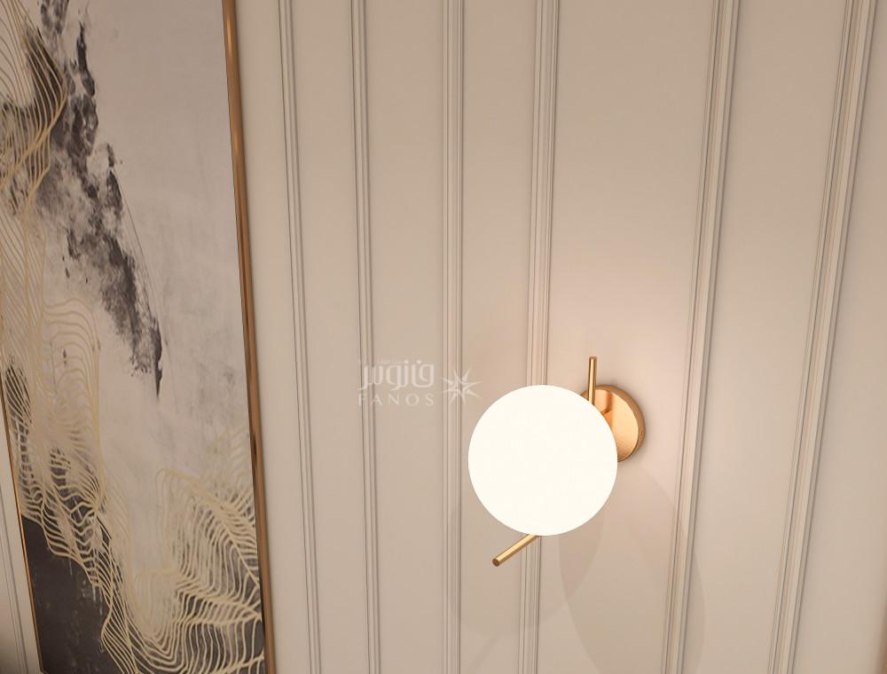 انارة مودرن على شكل كرة وذراع ذهبي راقي - فانوس