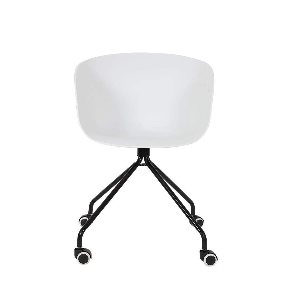 رؤية خلفية للكرسي في طقم كراسي أبيض بعجلات من ديل يوتريد للأثاث