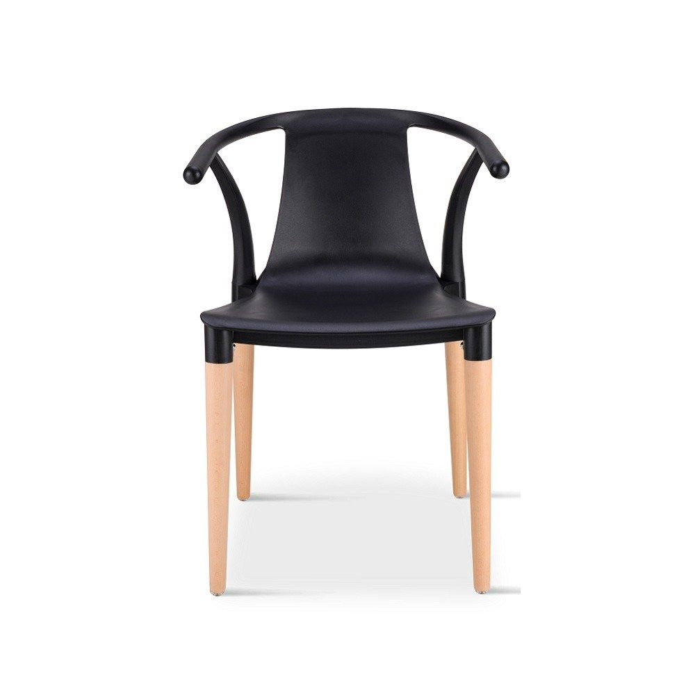 رؤية أمامية للكرسي من طقم كراسي مميز باللون الأسود من تجارة بلا حدود
