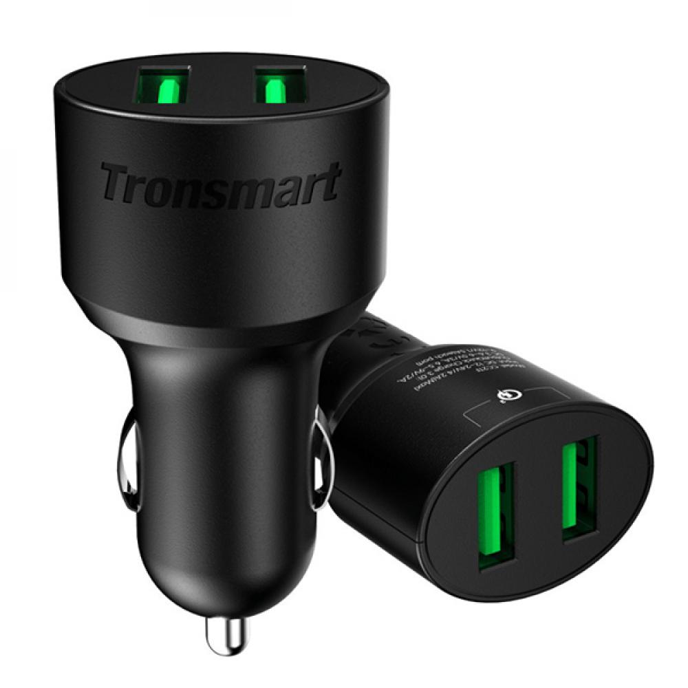 شاحن سيارة منفذين USB بتقنية كوالكوم 3 من ترونسمارت