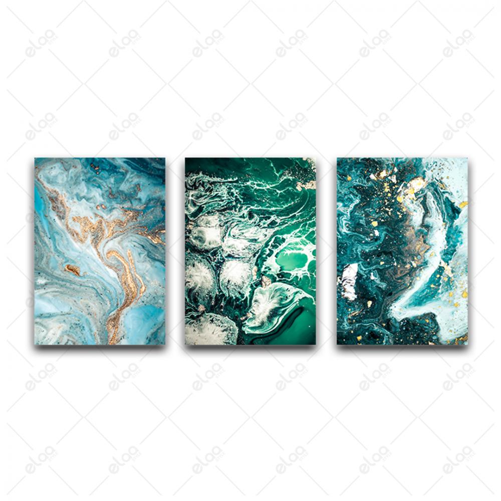 لوحات فن تجريدي لمياه البحر والحجار باللون الفيروزي مخلوطة بالذهب