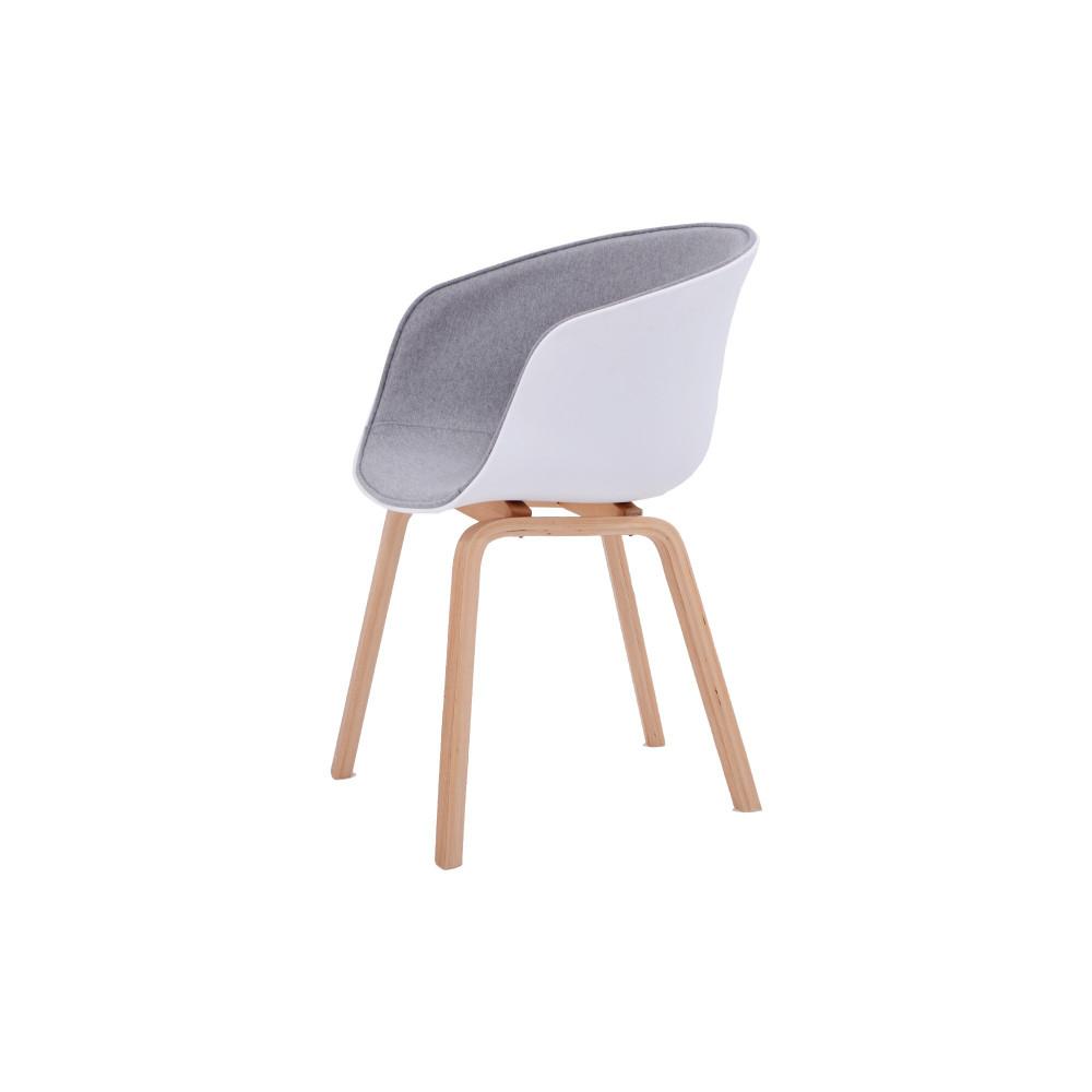 كرسي كاما فيبرابيض مقعد قماش رمادي ارجل خشب C-D-815BM