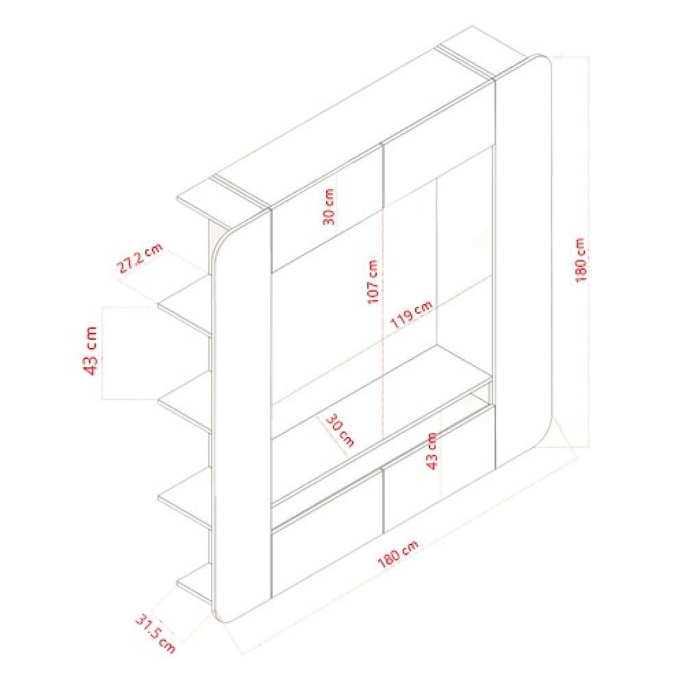 مواسم طاولة التلفاز الخشبية موديل أوفيس ستايل بالأبعاد الحقيقية