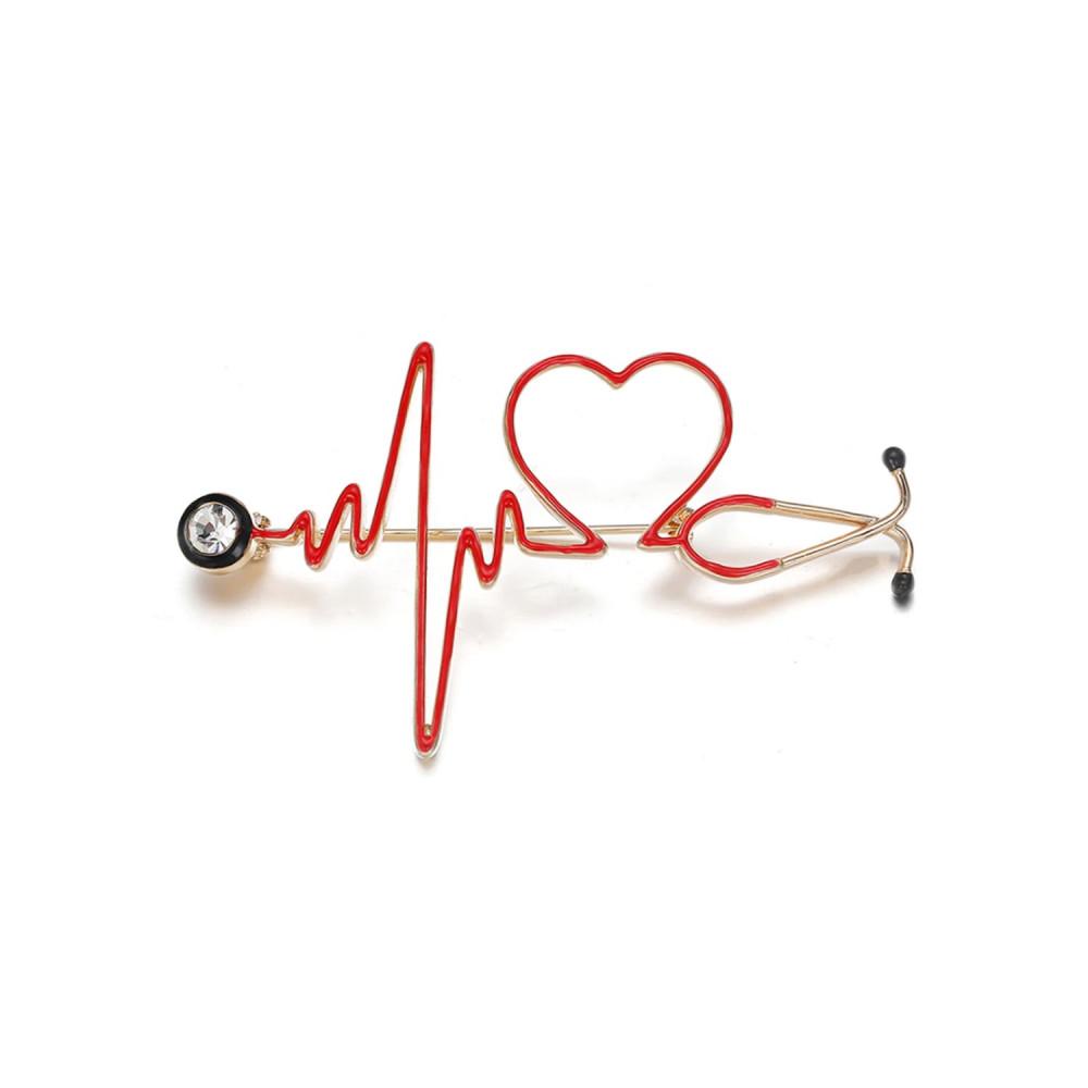 بروش سماعة طبية بلون ذهبي اكسسوارات طبية لاب كوت كلية الطب تخطيط قلببر
