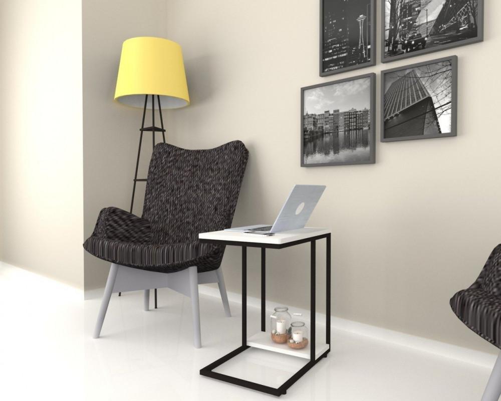 مواسم طاولة بيضاء بأرجل معدنية سوداء بتصميم بسيط لون أبيض وأسود