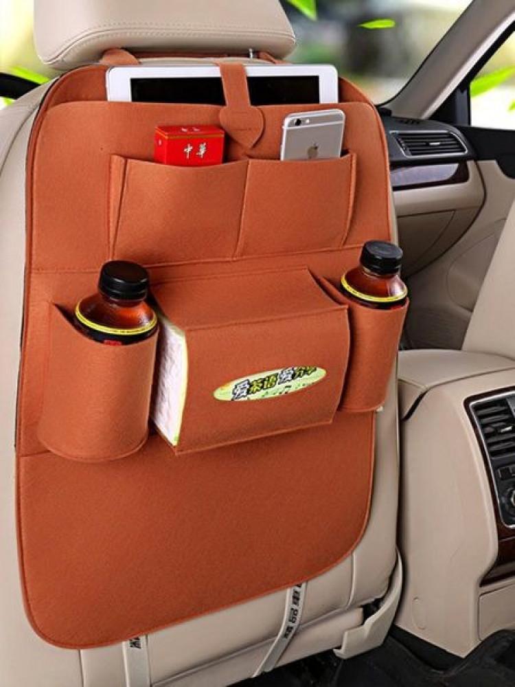 حقيبة تخزين 7 جيوب متعددة الوظائف خلف مقعد السيارة من الجلد