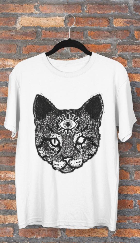تيشيرت من الدولاب قطة الوعي الادراك الحاسة السادسة العين الثالثة تصميم