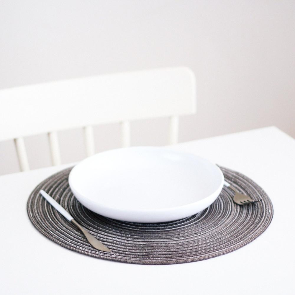 مفارش طاولة طعام مفرش أطباق دائري لون رمادي ترتيب سفرة الضيوف متجر