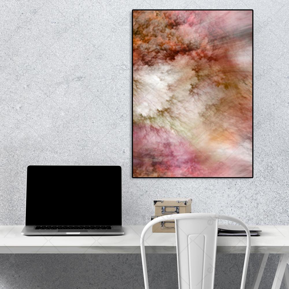 لوحة فن تجريدي خليط من الالوان البني والوردي والابيض