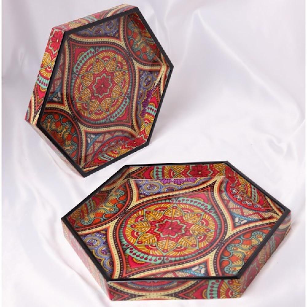 طقم صواني خشب تقديم روعه سداسية الشكل - داما - متجر لوازم اكسسوارات