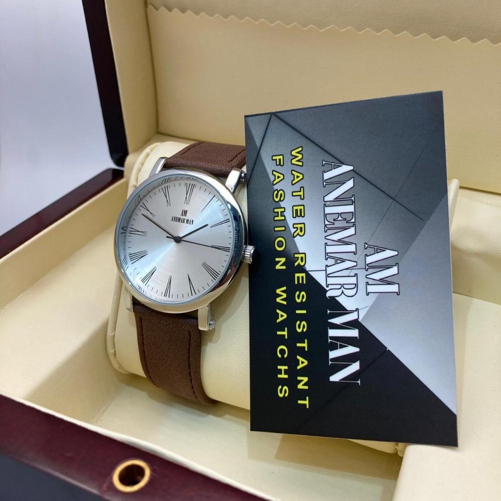 ساعة رجالية راقية جلد شامواه بتصميم أنيق