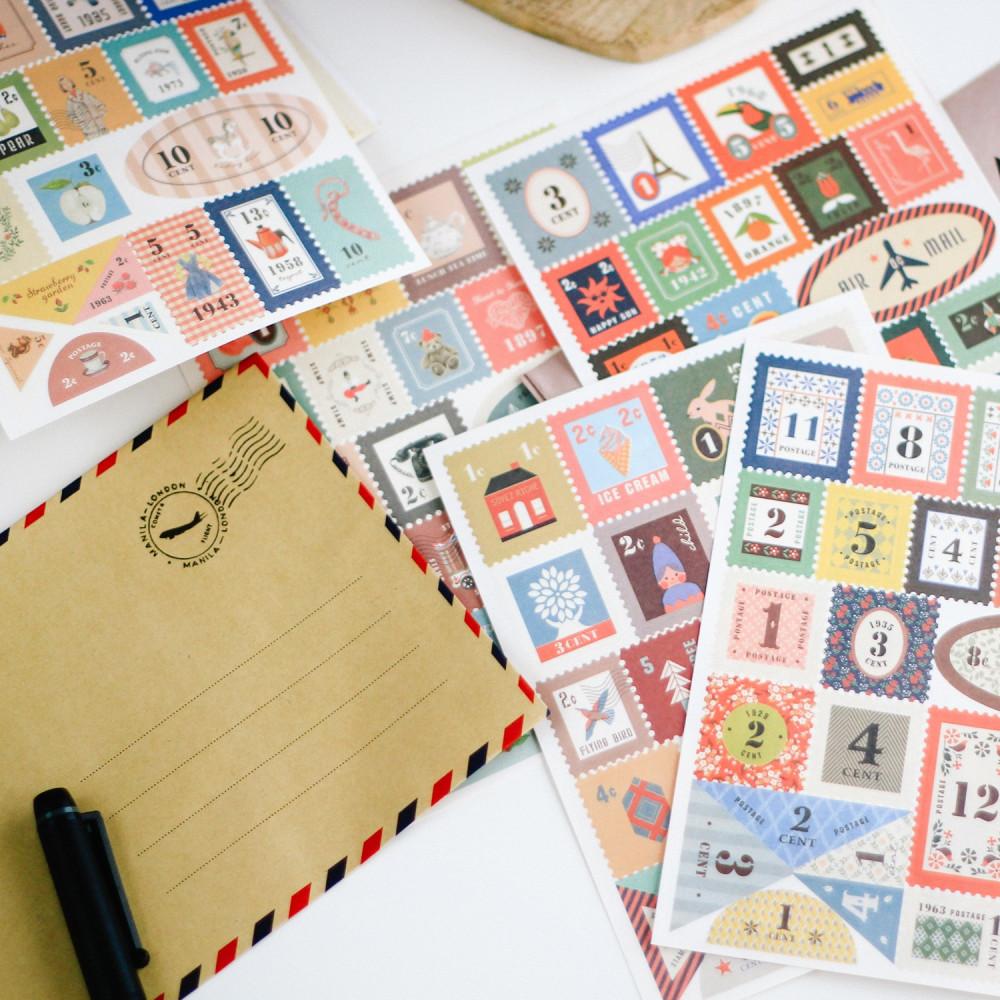 طوابع بريدية أفكار لتغليف الهدايا ستيكرات طابع بريدي طرد بريدي