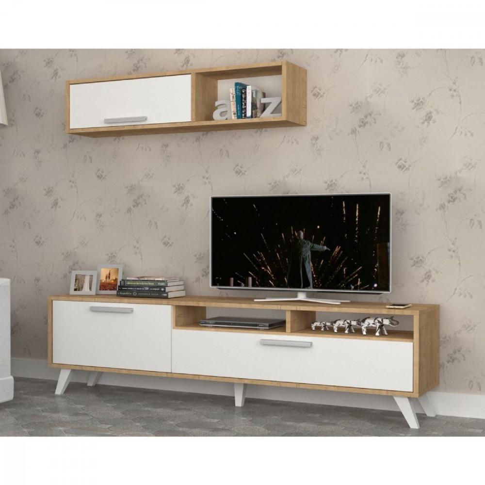 مواسم طاولة تلفاز مكونة من قطعتين مصنوعة من خشب particle board