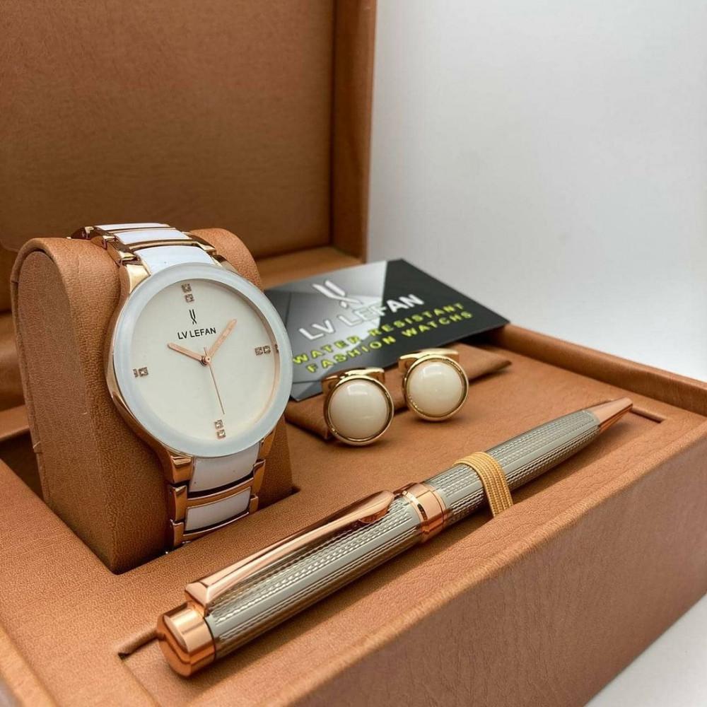 ساعة رجالية فخمة مع قلم أنيق وكبك مميز