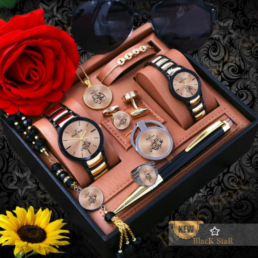 ساعة رجالية مع ساعة نسائية بإكسسوارات أنيقة