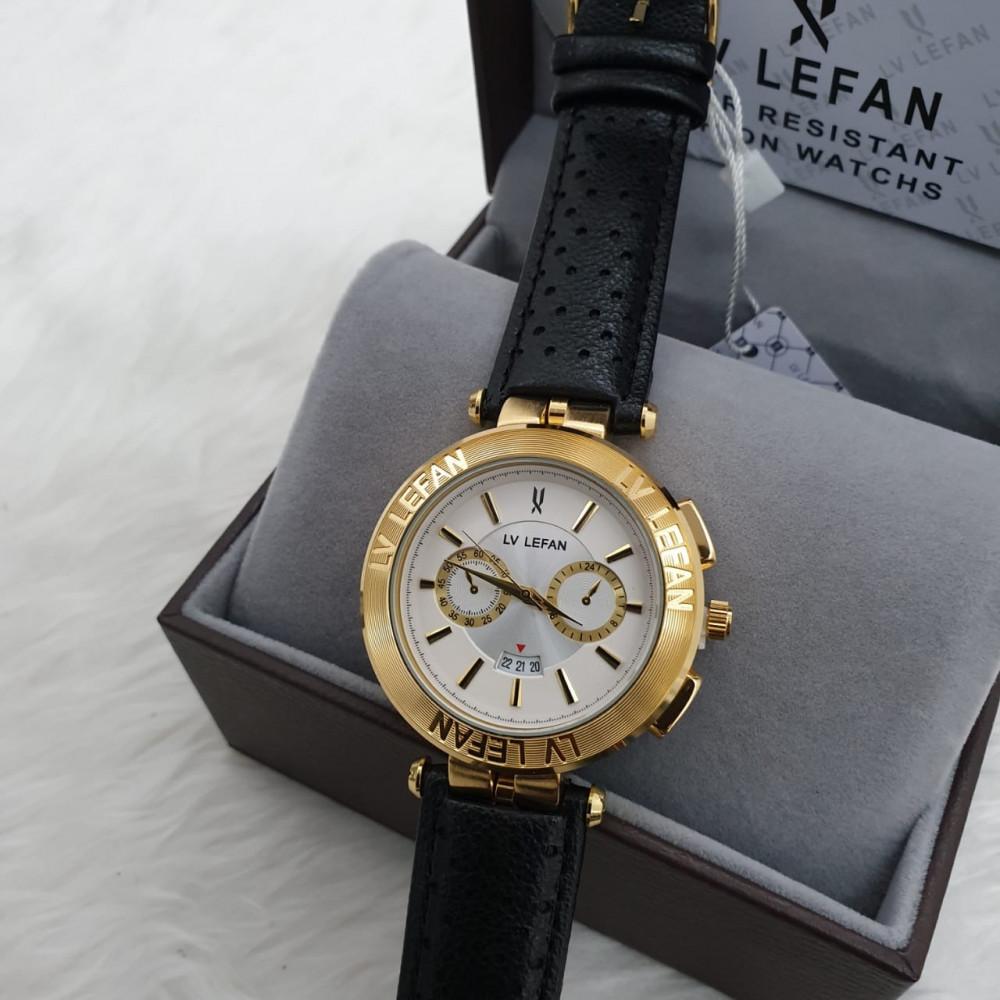ساعة رجالية جلد بتصميم مميز