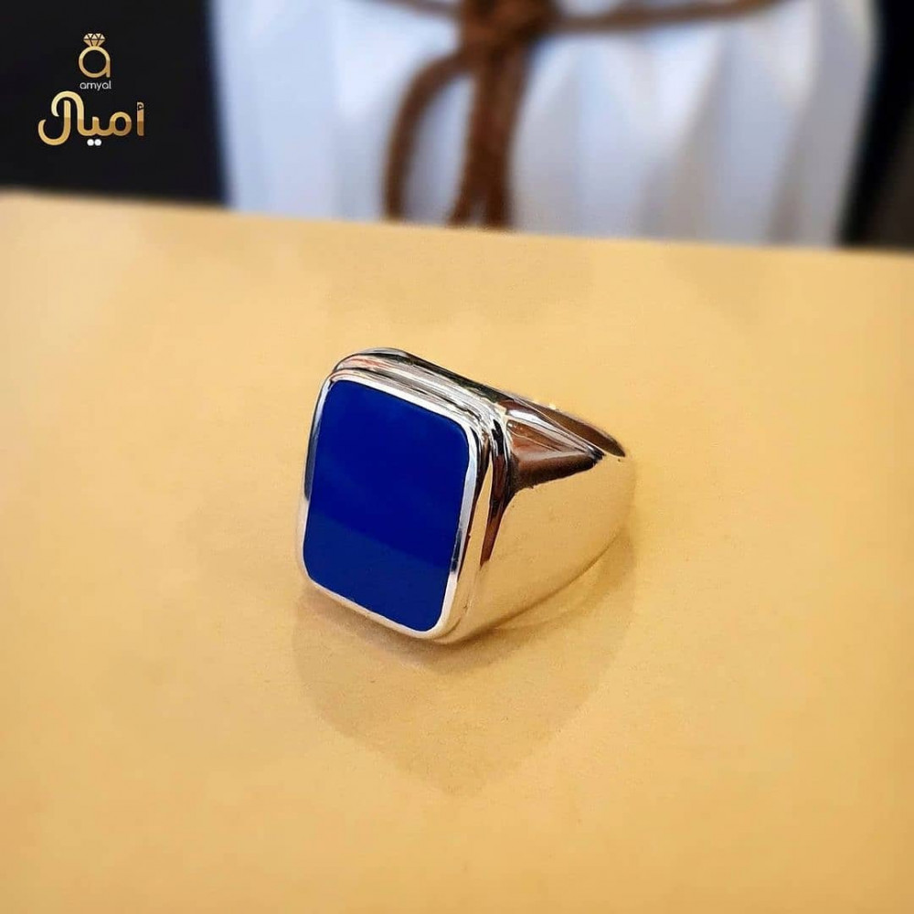 خاتم من الفضة الخالصة بحجر أونكس أزرق أنيق