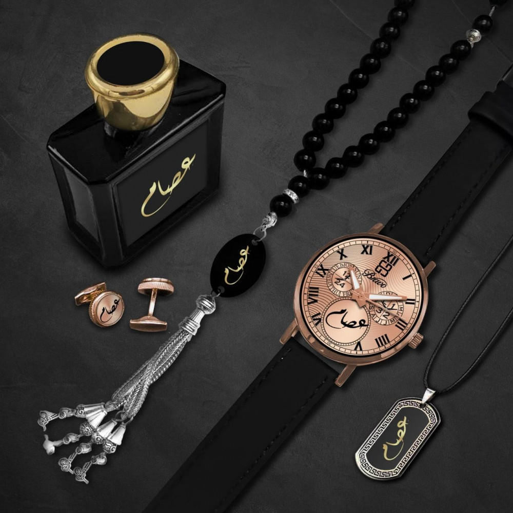 ساعة يد رجالية فخمة مع اكسسوارات أنيقة