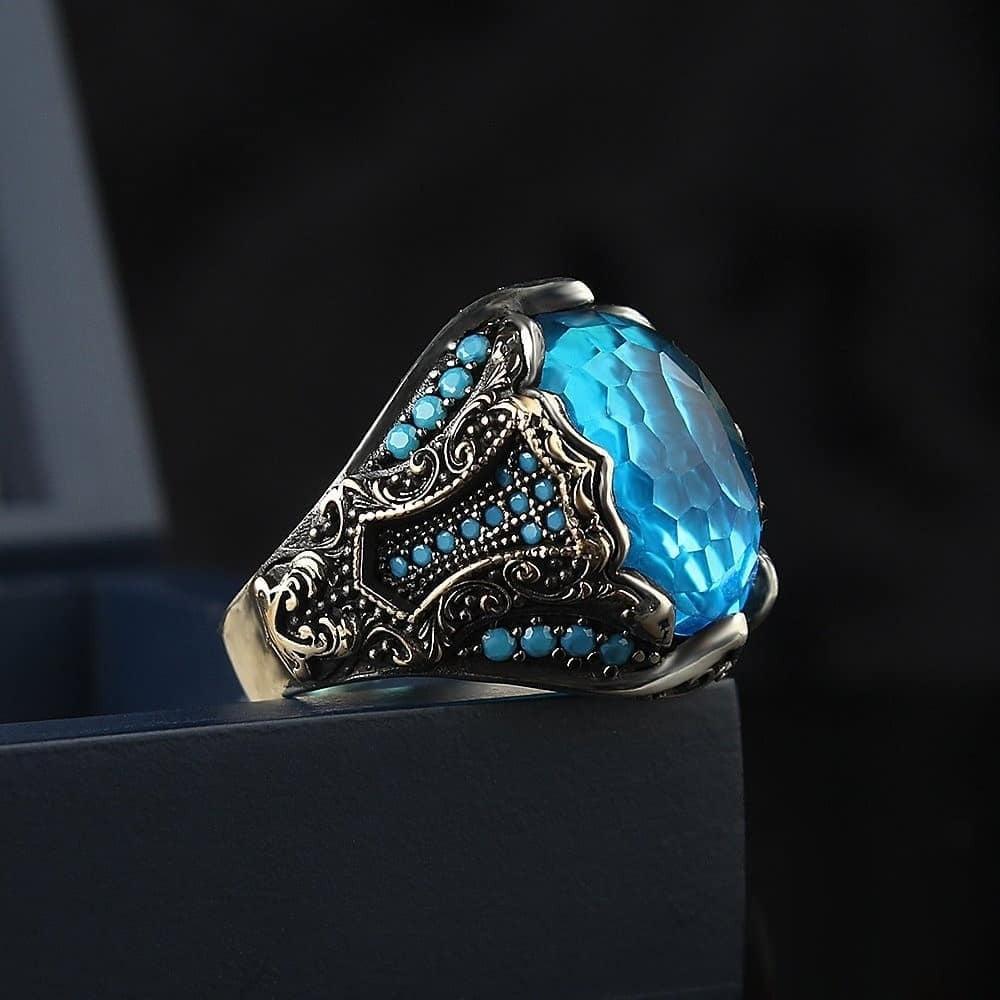 خاتم رجالي راقي من الفضة الخالصة بحجر الاكوامارين