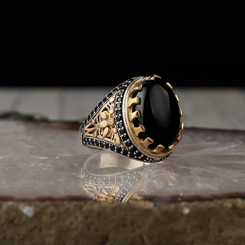 خاتم من الفضة الخالصة بحجر اونكس أنيق