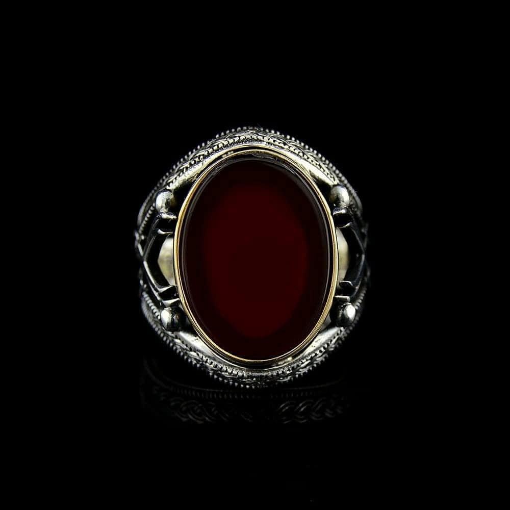 خاتم من الفضة الإسترلينية الخالصة مرصع بحدر عقيق فخم