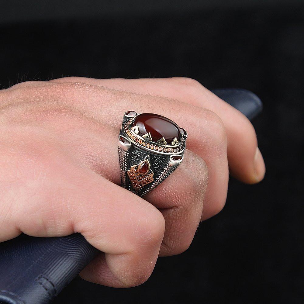 خاتم من الفضة الخالصة عيار 925 بحجر عقيق أنيق