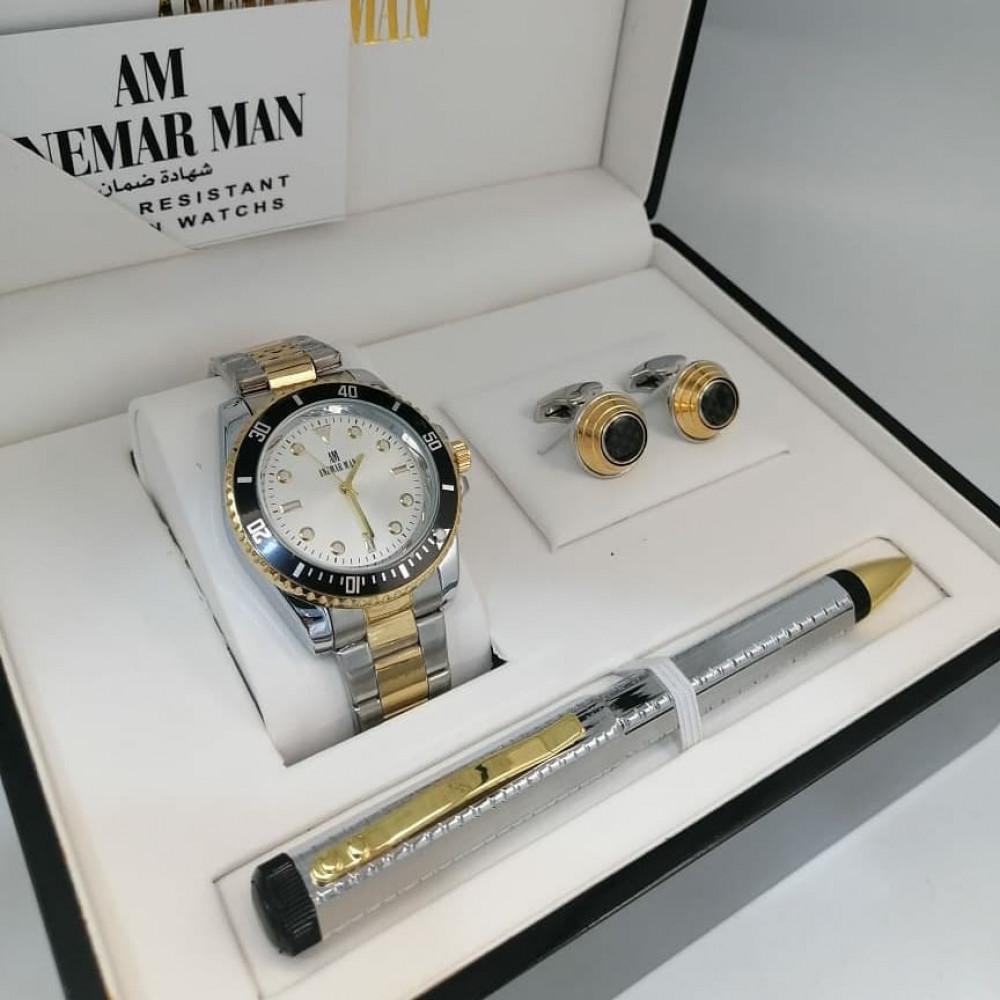 ساعة يد رجالية فخمة مع قلم وكبك أنيق