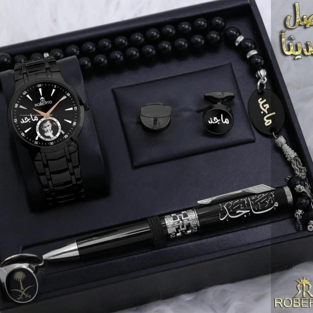 ساعة رجالية مع مجموعة اكسسوارات مميزة