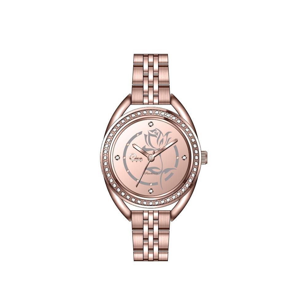 ساعة يد نسائية بتصميم ميناء شكل الزهرة
