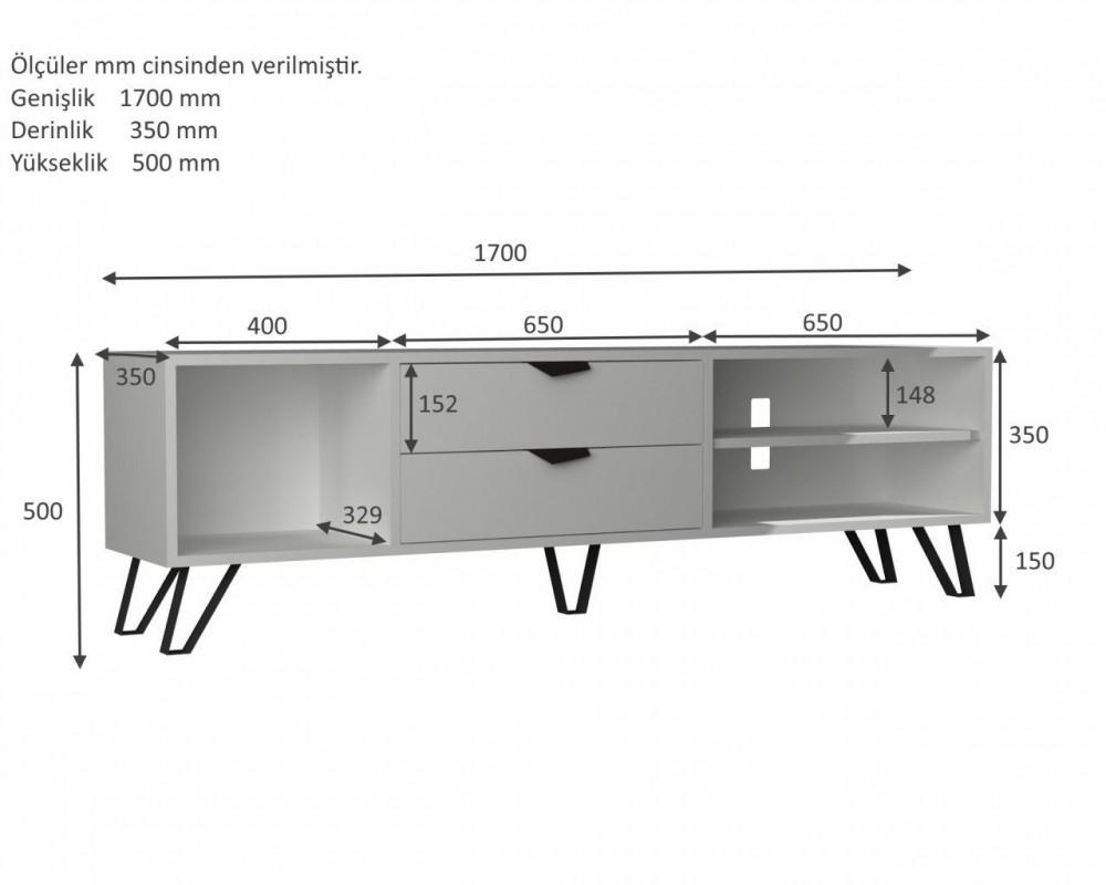 مواسم طاولة تلفاز بيضاء متعددة الاستخدام القياسات التفصيلية للطاولة