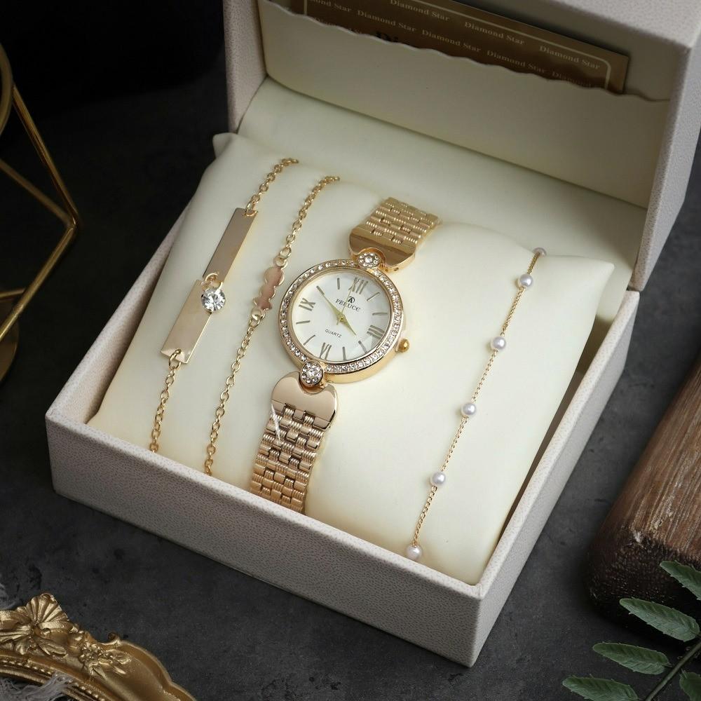 ساعة ناعمة ذهبية مع أساور