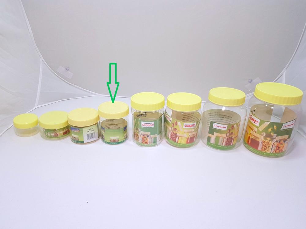برطمانات بلاستيك شفاف بغطاء اصفر مقاس 300مل متجر روائع التغليف للبلاستك