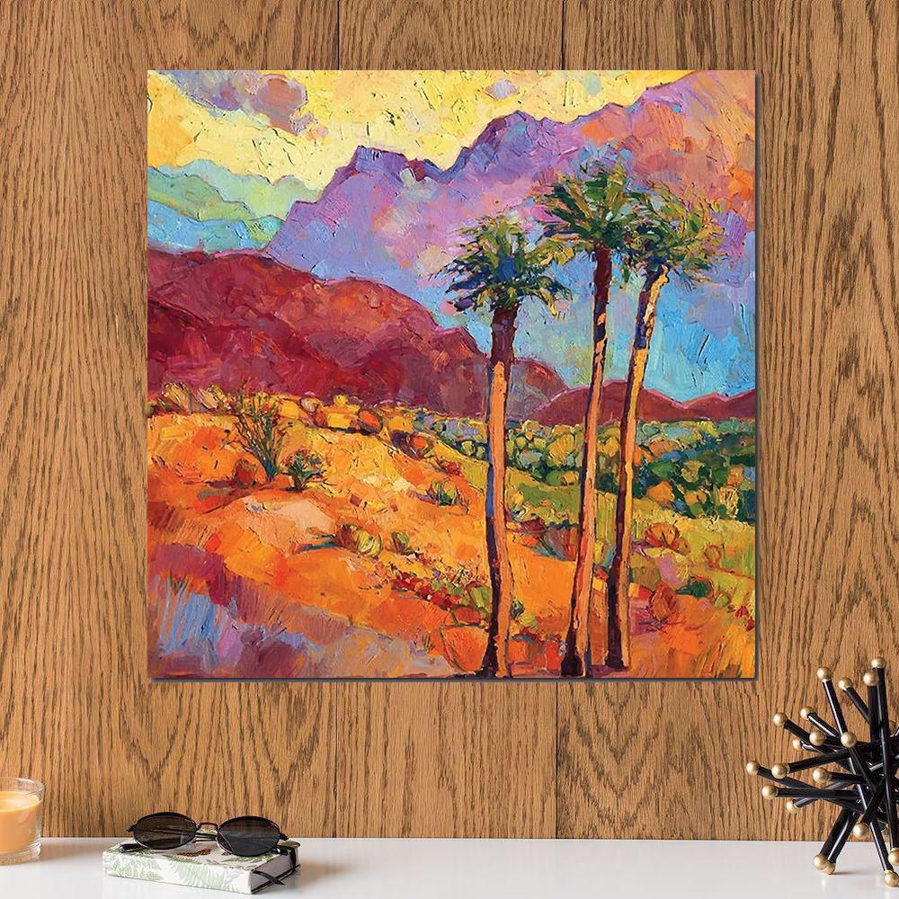 لوحة النخل ألوان زيتية خشب ام دي اف مقاس 30x30 سنتيمتر