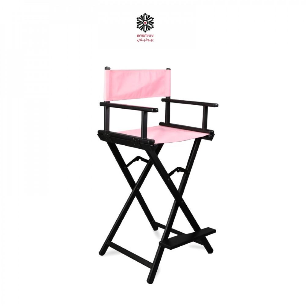 كرسي مكياج متنقل أسود مع قماش وردي فاتح