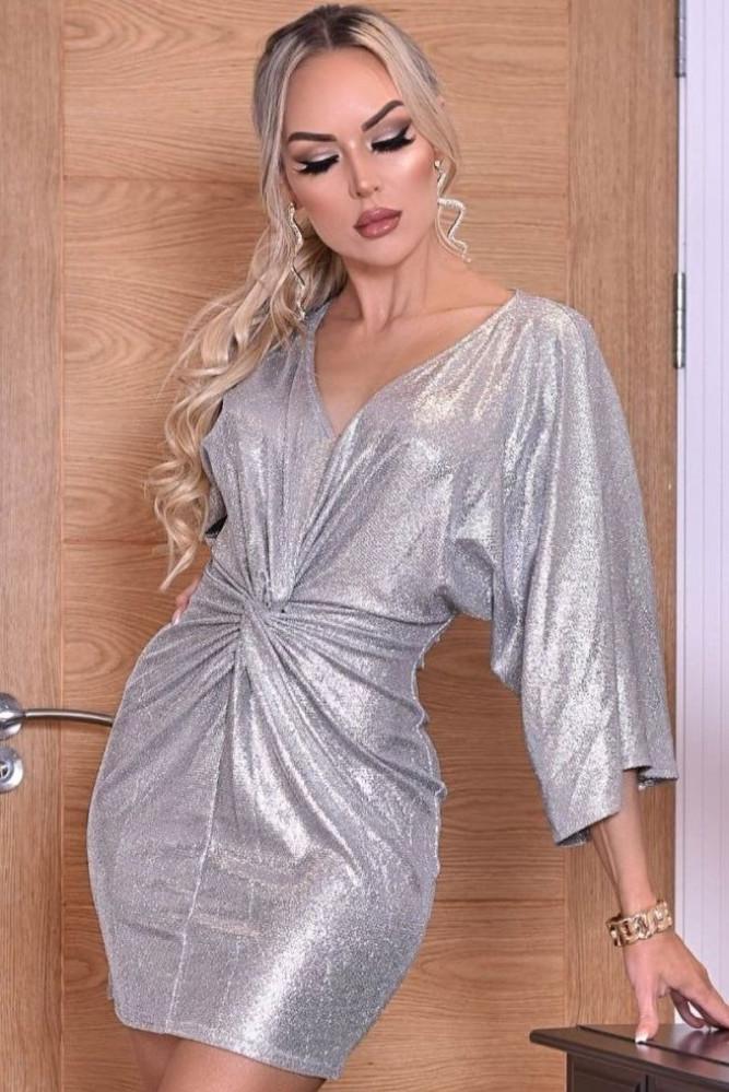 فستان فضي قصير