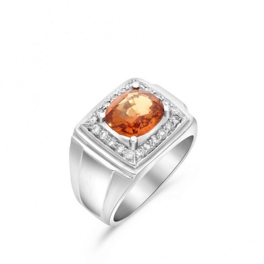 خاتم من حجر الجارنت الطبيعي والالماس