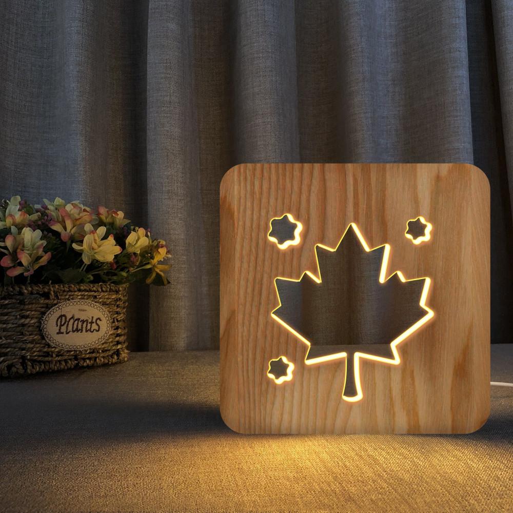 مواسم تحفة مضيئة على شكل ورقة شجر بتصميم ثلاثي الأبعاد وذات لون خشبي