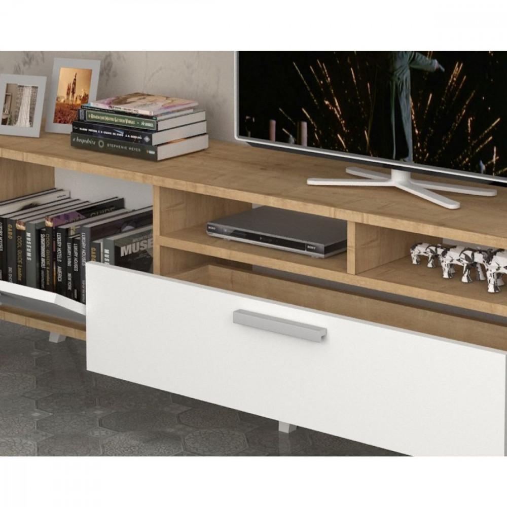 مواسم طاولة تلفاز مكونة من قطعتين مزينة بالتحف والأنتيكات الأنيقة