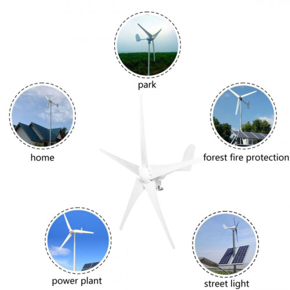 مولد طاقة كهربائية بواسطة الرياح بقوة 5000 واط 24 فولت 3 خطوط