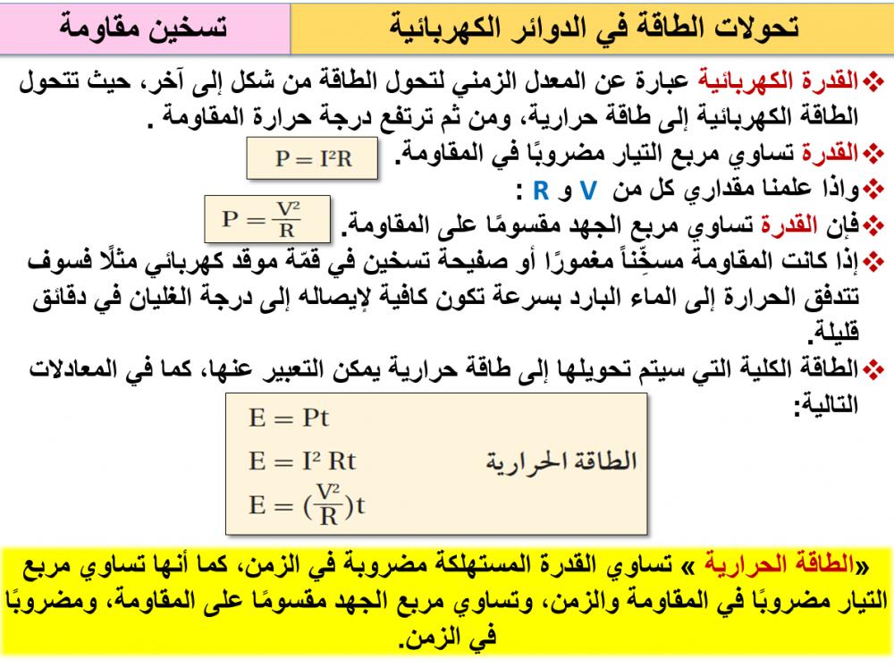 ملخص قوانين فيزياء 3 مقررات