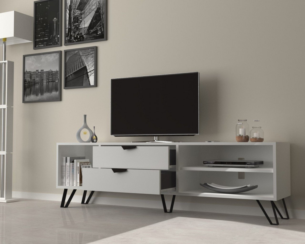 تجارة بلا حدود طاولة تلفاز خشبية بيضاء مزينة بالتحف والأنتيكات