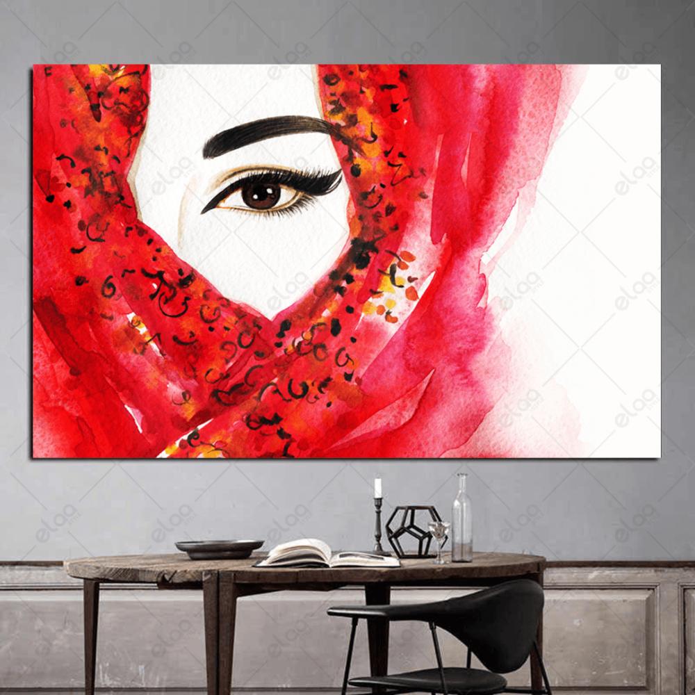 لوحة فن تجريدي لامراة ملثمة بشال احمر وخلفية بيضاء