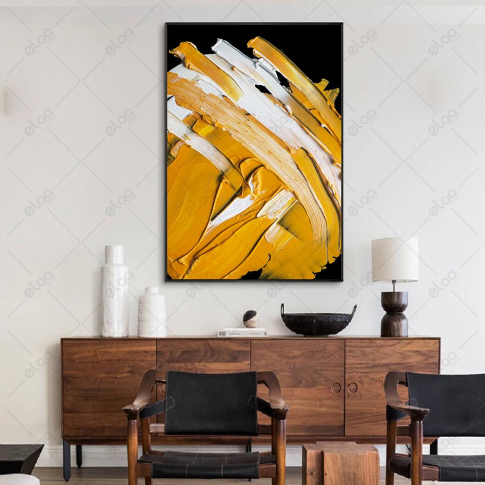 فن تجريدي دهان درجات الأبيض والاسود والاصفر