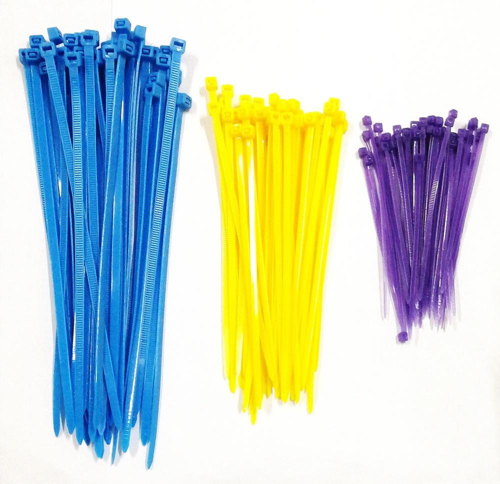 رباط مشد بلاستيك للتحزيم متعدد الالوان عدد 150 قطعة