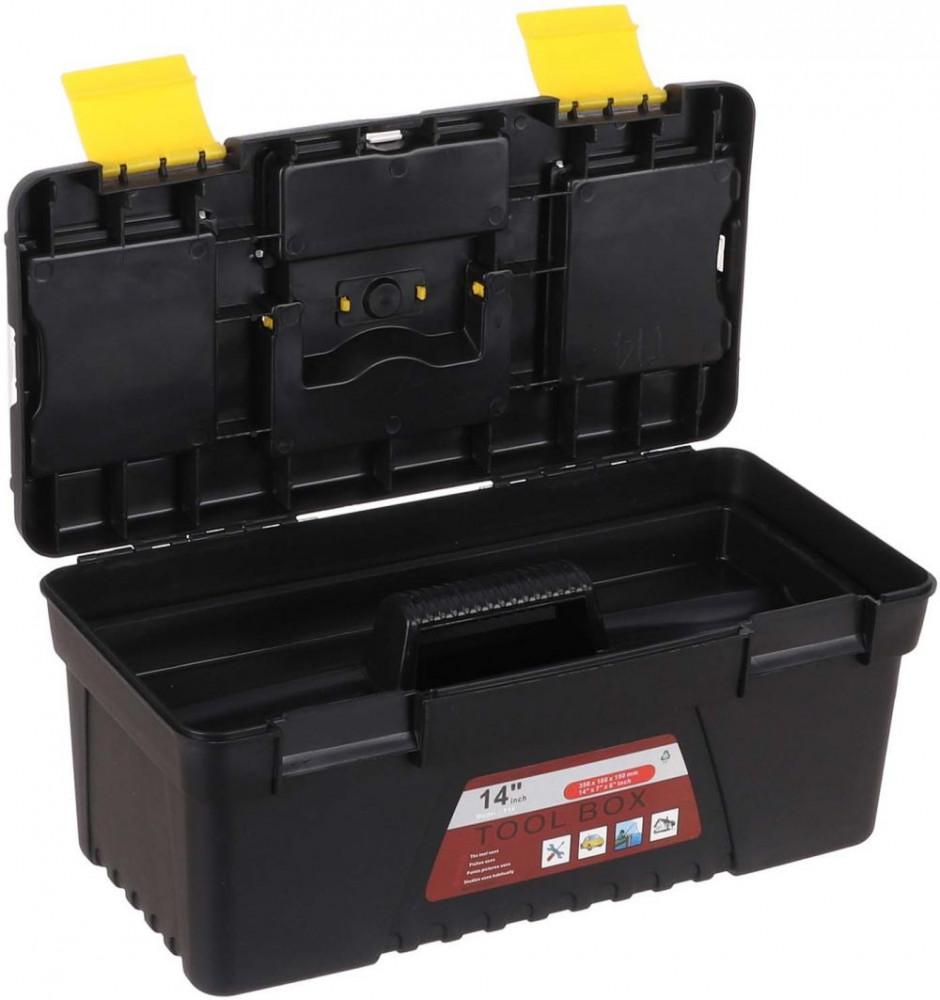 صندوق عدد من البلاستيك 14 بوصة مع صينية بمقبض مريح لتخزين العدد